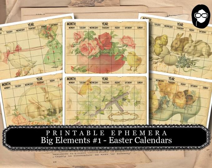 Blank Journal Cards - Big Elements #1 Easter Calendar - 3 PgInstant Download - digital journal kits, easter printable, paper ephemera kit