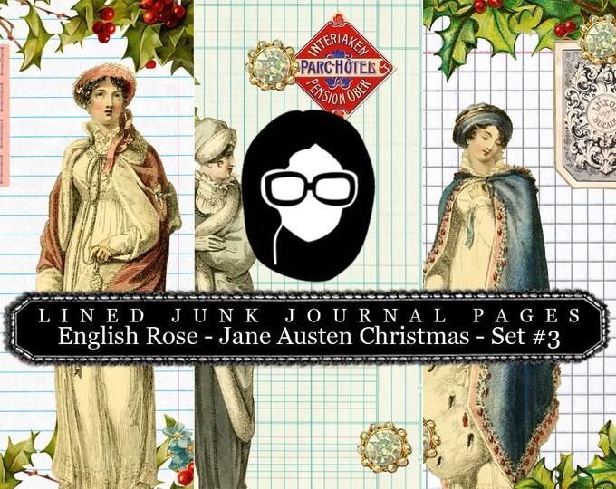 Jane Austen Christmas Journal Pages Set #3 LINED - 3 Pg Instant Downloads -  sense and sensibility pride and prejudice,  regency