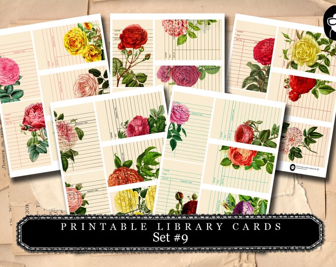 Roses Clipart Floral - Library Cards 2 Set #9- 5 Page Instant Download- paper ephemera kit, journaling cards, ephemera pack, altered art kit