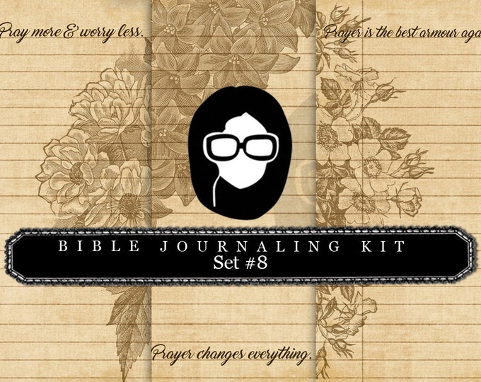 Prayer Journaling - Bible Verse Set #8 - 3 Pg Instant Downloads - digital rose paper, bible verses diy, scripture art, bible journaling kit