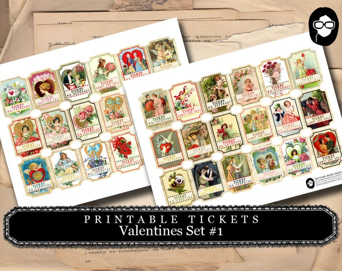 Printable Tickets - Vintage Valentines # 8 - 2 Page Instant Download - valentines day, art journal card, ephemera paper pack