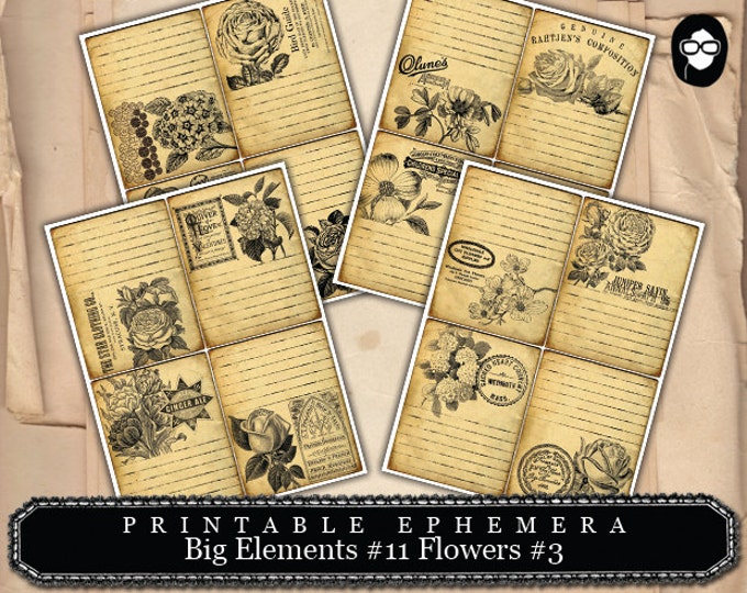 Digital Journal Card - Big Elements #11 Flowers #3 - 4 Page Instant Download -  journaling kit, art journal card, journaling cards