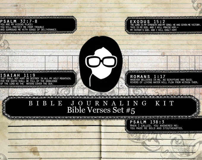 Bible Verses DIY - Bible Verse Set #5 - 3 Pg Instant Downloads - lined journal pages, bible journaling kit, prayer journaling, flourish