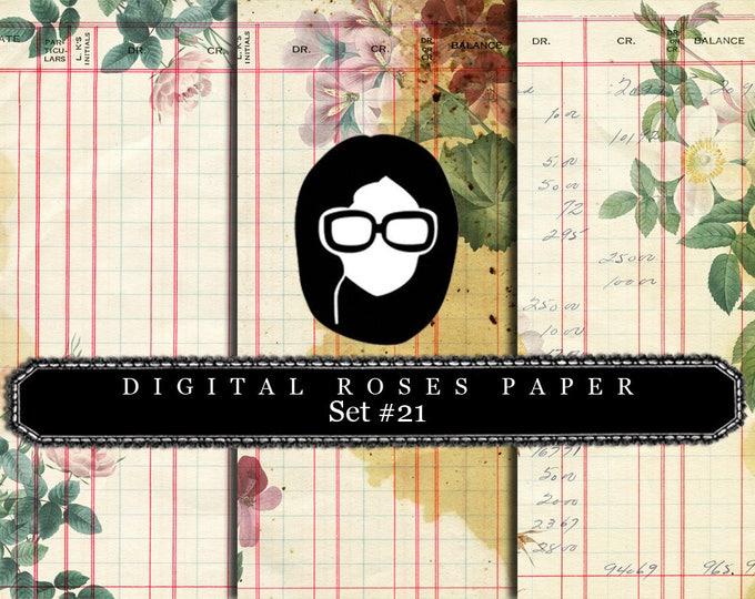 Digital Roses Paper - Set #21 - 3 Pg Instant Downloads - rose digital paper, floral digital paper, digital paper pack, best digital paper