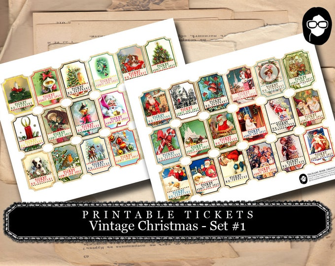 Printable Tickets - Vintage Christmas # 1 - 2 Page Instant Download - clip art christmas, art journal card, ephemera paper pack