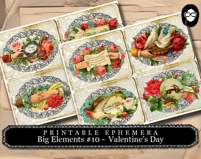 Valentine Theme - Big Elements #10  - Valentine's Day - 2 Page Instant Download - junk journal supply, project life kit