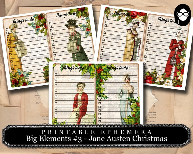 Jane Austen Christmas -Big Elements #3 Christmas To Do List - 3 Pg Instant Download - clip art christmas, art journal card