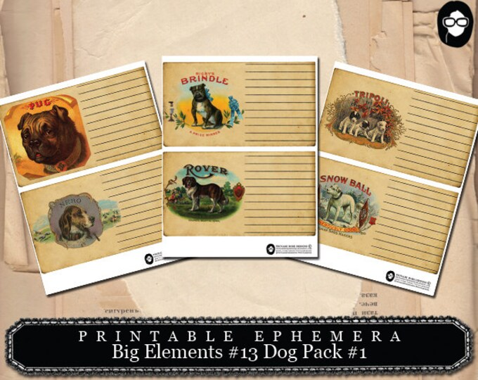 Printable Dog Cards - Big Elements #13 Dogs #1 - 3 Page Instant Download - art journal card, ephemera paper pack, journaling kit