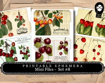 Cherry Print - Mini Files Set #8 - 3 Page Instant Download - ephemera pack, altered art kit, junk journal kit, blank journal cards