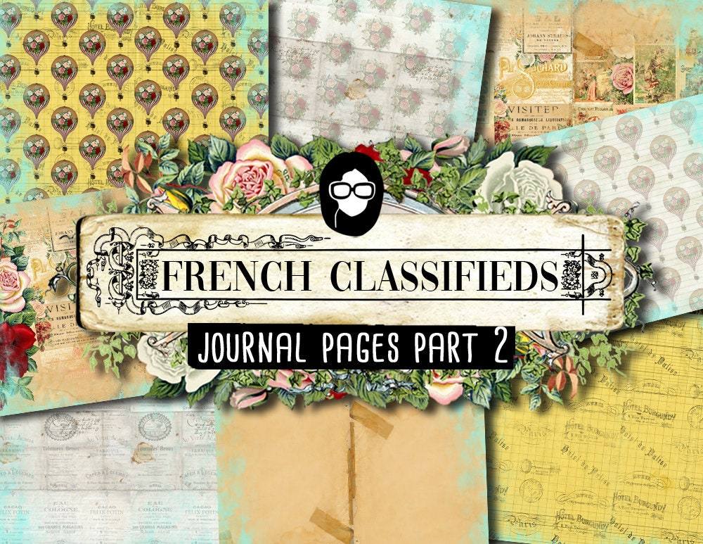 French Journal Kit - French Classifieds - Journal Pages P2