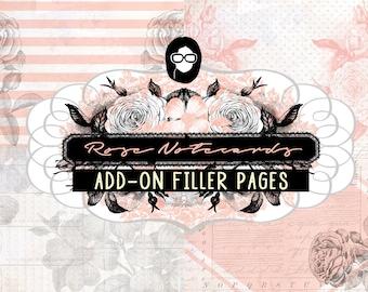 Rose Journaling Kit - Rose Notcards Addon Filler - 6 Journal Refill Pages - vintage junk journal, floral digital paper, junk journal kit
