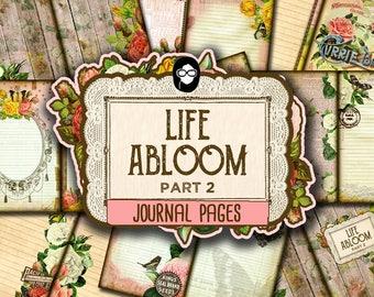 Rose Journaling Kit– Life Abloom - 10 Journal Refill Pages -  vintage junk journal, floral digital paper, diy journal, junk journal kit