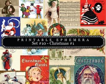 Clipart Christmas - Printable Ephemera Set # 10 Christmas #1- 30 Page Instant Download - clip art christmas, art journal card, ephemera pack