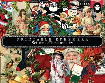 Christmas Clipart - Printable Ephemera Set # 11 Christmas - # 2 - 30 Page Instant Download - christmas clip art, clipart christmas