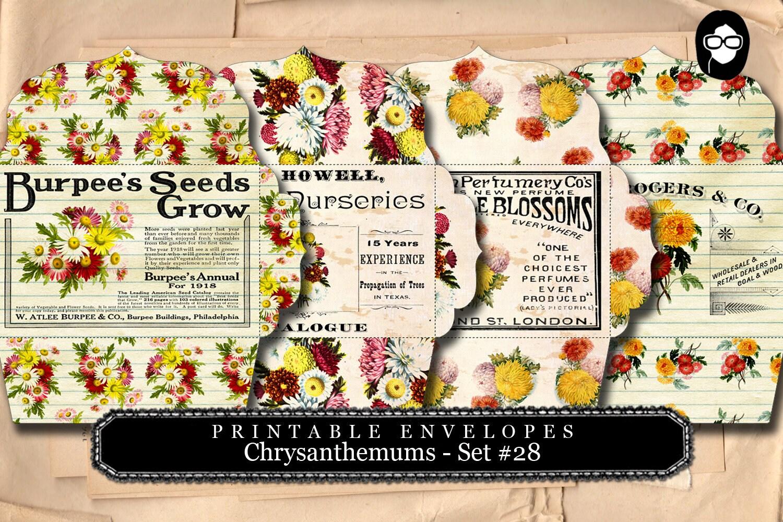 Printable Envelopes - Chrysanthemum Set #28 - 4 Page ...