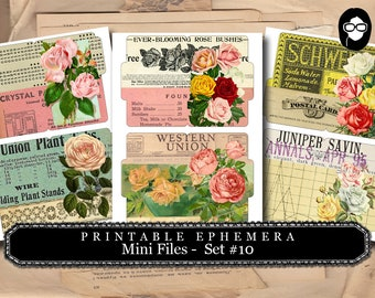 Altered Art Kit - Mini Files Set #10 - 3 Page Instant Download - floral clipart, smash journal kit, journaling cards, journal cards