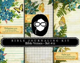 Prayer Journaling - Bible Verse Set #11 - 3 Pg Instant Downloads - digital rose paper, bible verses diy, scripture art, bible journaling kit