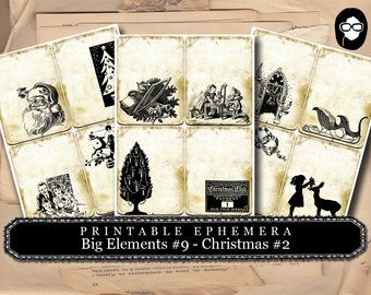 Digital Journal Card - Big Elements #9 Christmas #2 - 3 Page Instant Download - clip art christmas, art journal card, ephemera paper pack