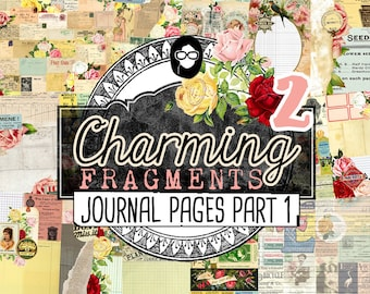 Junk Journal Kit- Charming Fragments P2 - 10 Page Digital Download - vintage digital journal kit, journal refill, printable journal page