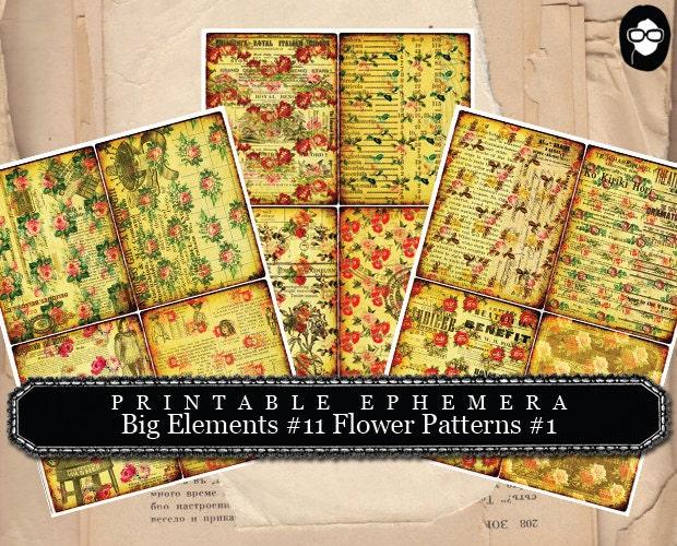 blank journal cards  big elements 11 flower pattern 1