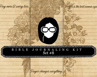 Prayer Journaling - Bible Verse Set #8 - 3 Pg Instant Downloads - digital rose paper, bible verses diy, scripture art, bible journaling kit