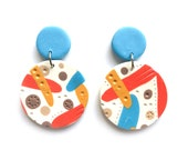 RETRO SPRING FLOWERS weirdlings polymer clay dangle statement earrings - blue pink red yellow beige