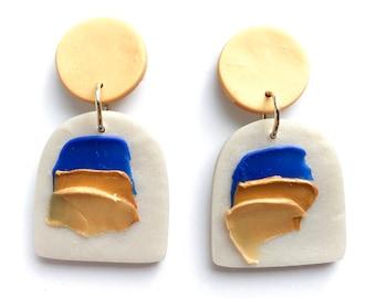 SAMPLE, Painted Earrings, Gold Earrings, Impasto, Earrings, Polymer Clay Earrings, Colourful Earrings, Statement Earrings