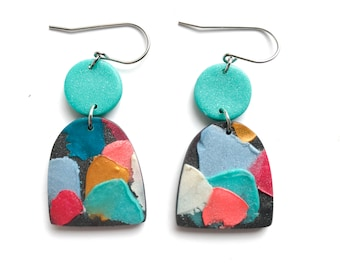 Painterly Earrings, Rainbow Earrings, Impasto, Earrings, Polymer Clay Earrings, Colourful Earrings, Statement Earrings, RAINBOW