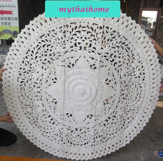 Thai Queen Bett Kopfteil 60 5ft Weiße Runde Lotus Blume | Etsy