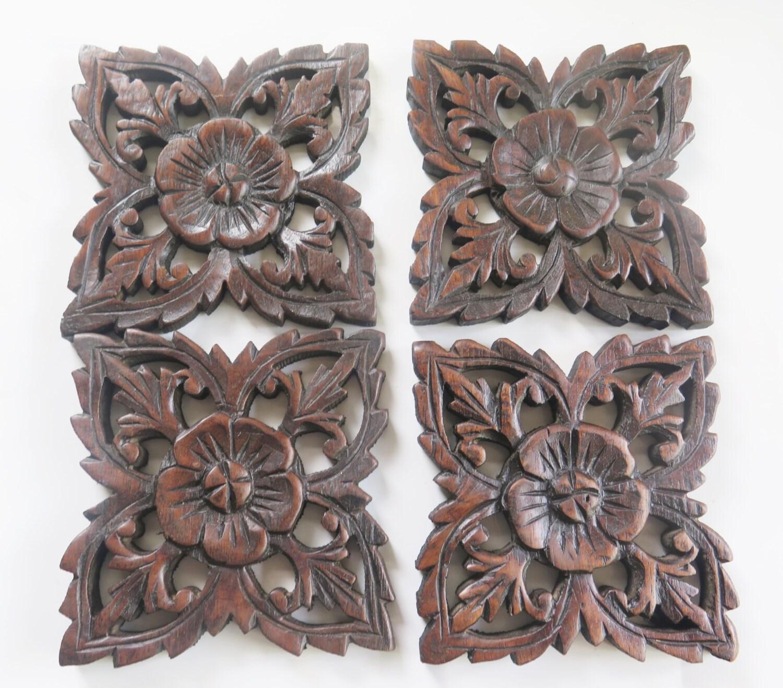 Set of 4 Natural Bed Headboard 6 Sculpture Flower Wooden