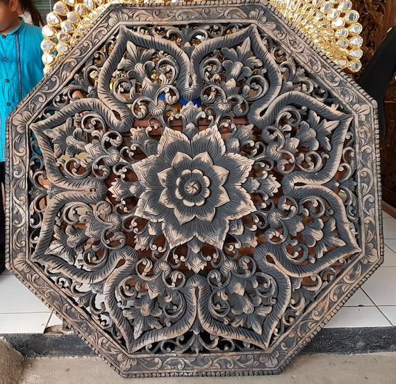 Super Sale 47 Rustic Queen Size Bed Mandala Headboard Lotus Flower Wooden Craved Teak Wood Art Panel Wall Home Decor Thai Black Washed Antique Creativecarmelina Interior Chair Design Creativecarmelinacom