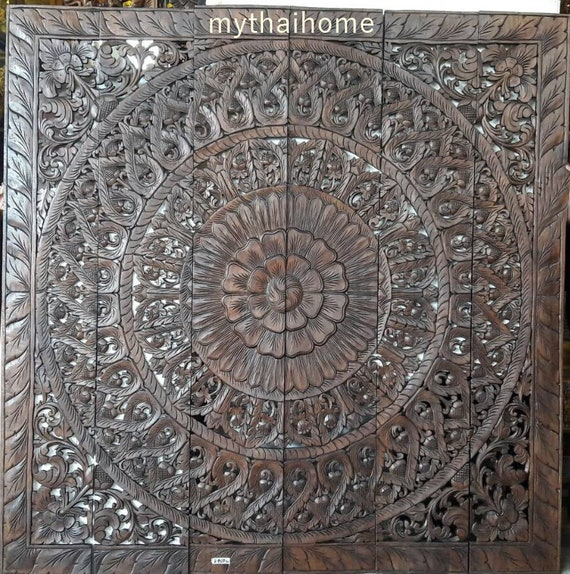 Large Teak Wood King Size Bed Bohemian Headboard White Flower Mandala Wooden Hand Craved Carving Art Panel Wall Decor Thai Romantic Bedroom