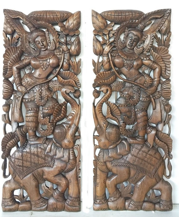 Pair Of Thailand Bed Headboard 35 5 X 13 50 Sculpture Angel Lotus Flower Elephant Hand Craved Carving Teak Wood Art Panel Wall Home Decor