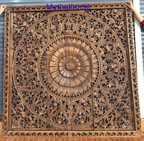 Large Thai Wall Art King Size Bed Rustic Bohemian Headboard 6ft Decorative Flower Mandala Wooden Hand Craved Plaque Teak Wood Panel Decor