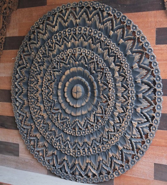 72 Round Black Wash Large Wood Wall Art, Round Wood Carved Wall Decor