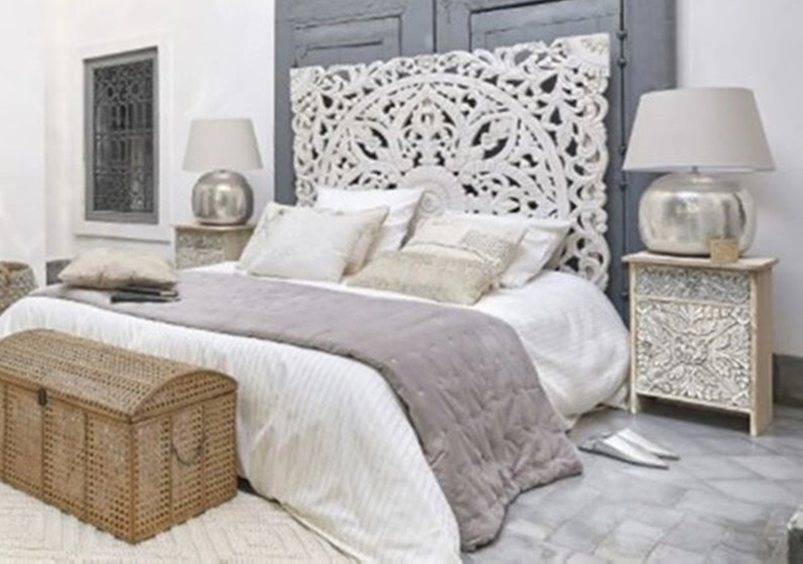62 White Washed Queen Size Carved Wood Bed Headboards Etsy