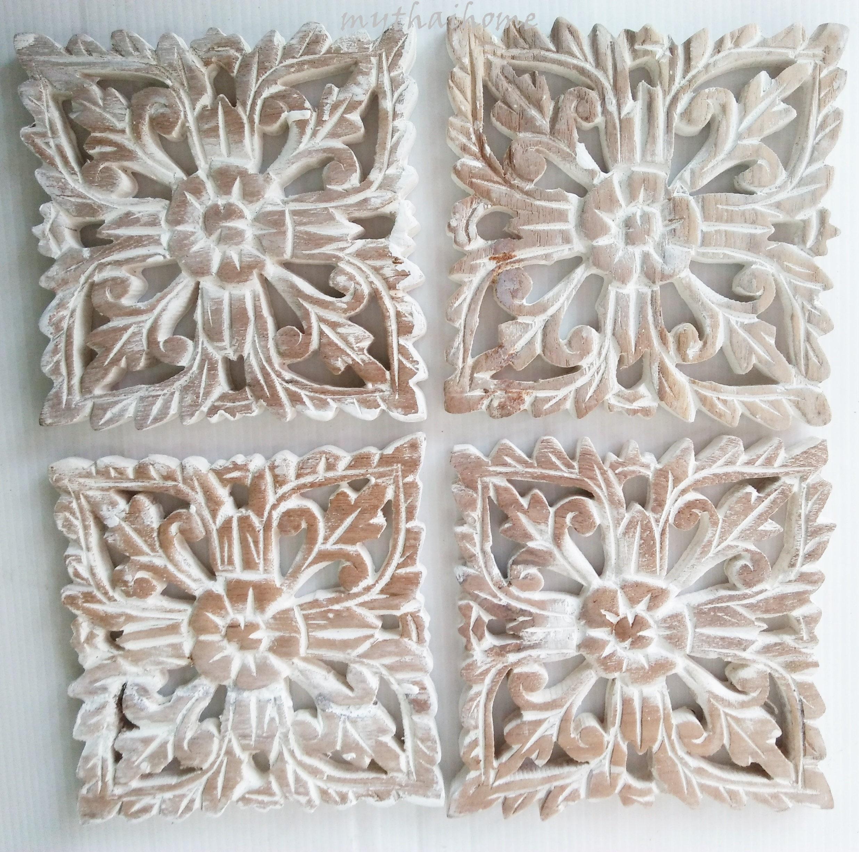 4 White Washed Bed Headboard 6 Sculpture Flower Wooden