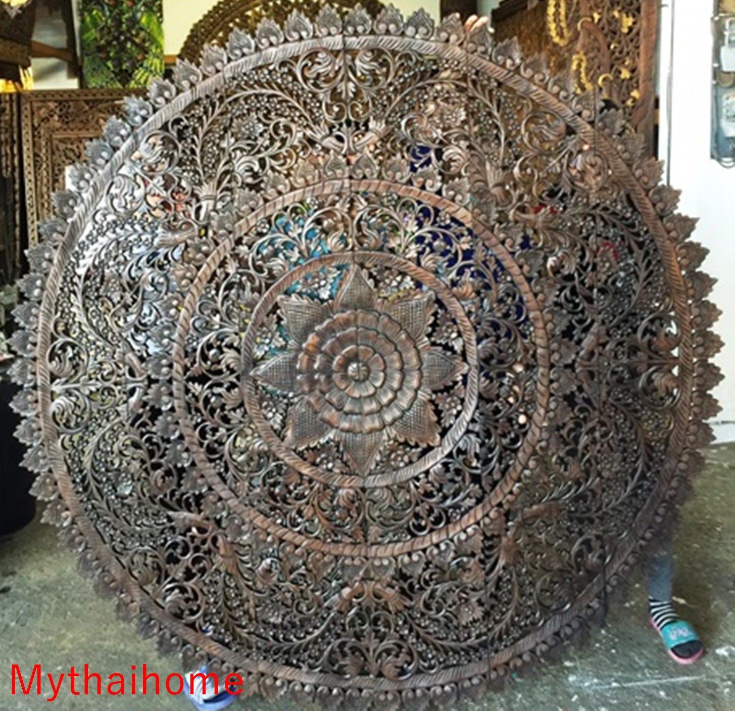 Runde Kingsize Bett Kopfteil 6ft Lotus Blume Mandala Aus Holz Hand Sehnte  Carving Teak Holz Braun Weiß Kunst Panel Wand Home Decor Thai Große