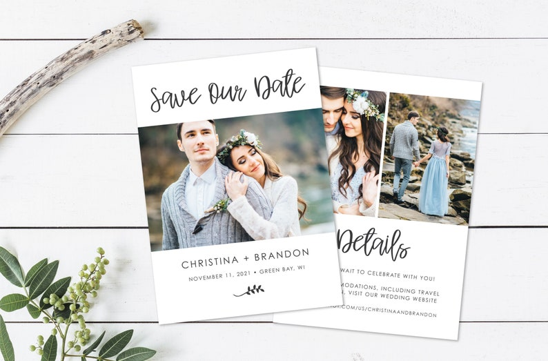 Printable or Printed Double Sided Modern Script Photo Card image 1