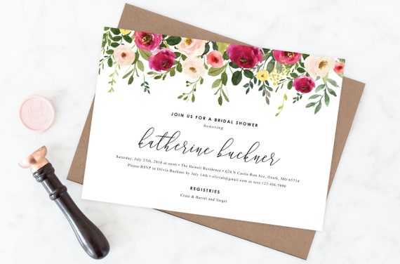 graphic regarding Watercolor Floral Border Paper Printable named Printable or Released Watercolor Floral Greatest Border Bridal Shower Invitation