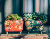 Set of 2 - Beautiful Flower Style terracotta Planter,Ceramic Planter,Succulent Planter, Succulent Pot,Cactus Planter Container
