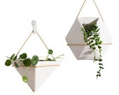White Triangle Handcrafted Hanging Ceramic Wall Planters,Wall Hanging Flower Planter ,Hanging Pots,Hydroponics Planter,Air Plant Holder,