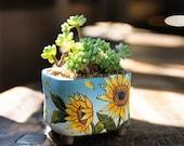 Beautiful sunflower Flower terracotta Planter,Ceramic Planter,Succulent Planter, Succulent Pot,Cactus Planter Container,Planter Set,Gift