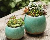 Set of 2 - Succulent Planter,Green Ceramic Planter,Succulent Pot,Cactus Planter Container,Indoor Planter,Home Decor, Planter Set,Gift