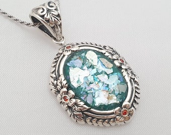 Historical archiological Piece Roman Glass Silver Pendant Ancient Roman Glass Silver Jewelry Israeli Jewelry Natural colours glass