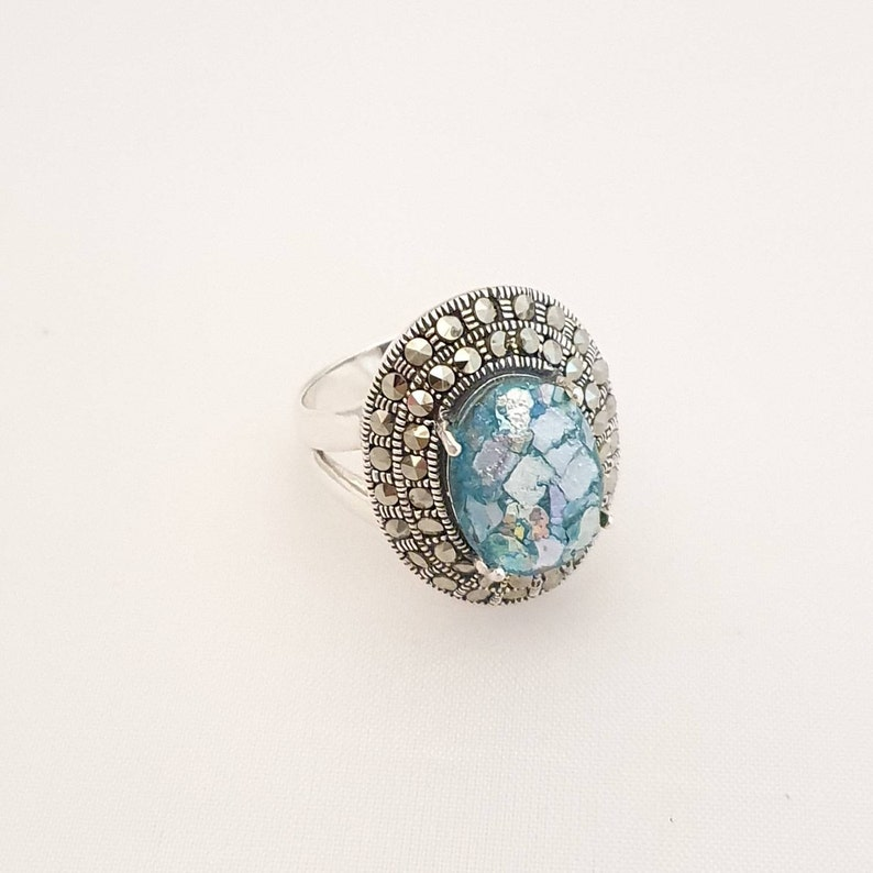 roman glass jewelry,israeli designed ring,ancient roman glass silver ring set with small marcasite stones Roman glass amazing ring