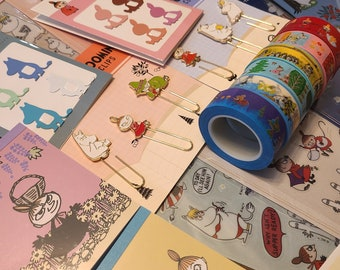 Moomin Valley cute stationery grab bag - masking tapes, memo sheets, metal bookmarks and stickers