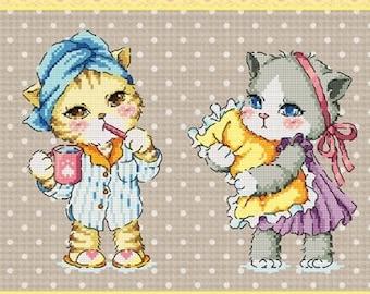 Cute kitten cross stitch pattern by sodastitch, good night kitty, cat pattern, children room decor, cat lovers, Cross stitch pattern