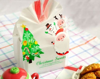 10 Christmas cookie bag, Christmas candy bag, Christmas treat bag, pastry bag, favor bag, goodie bag, Santa Clause and Christmas tree