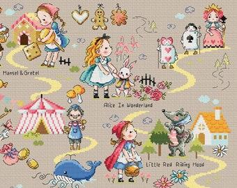 Fairy Tale Land 1 Soda Stitch pattern and kit, Alice in wonderland cross stitch pattern, little red riding hood, cute, children room decor